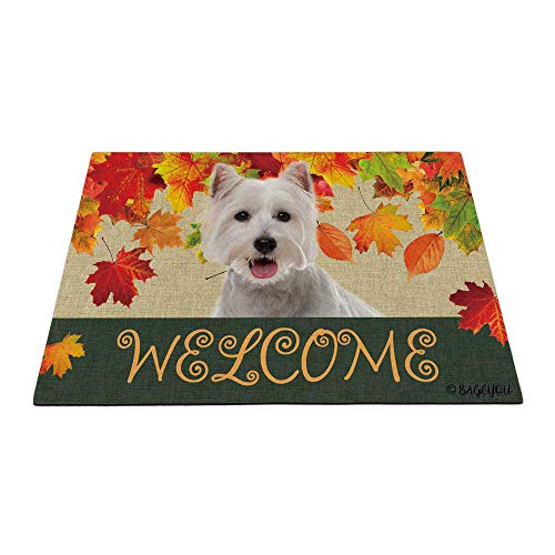 BAGEYOU Welcome Fall with My Favorite Dog Westie - Felpudo para exteriores, diseño de hojas de arce, temporada de cosecha, decoración rústica, alfombra para el suelo de 59,6 x 39,9 cm