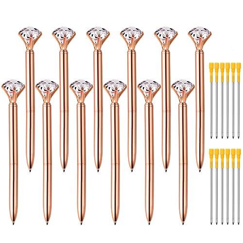 Zealor 12 Pieces Big Diamond Crystal Ballpoint Pens and 12 Pieces Ballpoint Pen Refills, Black Ink (Rose Gold)