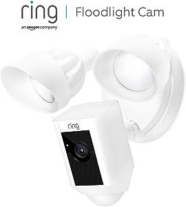 Ring Floodlight Cam, HD-beveiligingscamera met ingebouwde schijnwerpers, tweeweg-audio en een alarm | Inclusief proefabonnement van 30 dagen op Ring Protect Plus | Wit