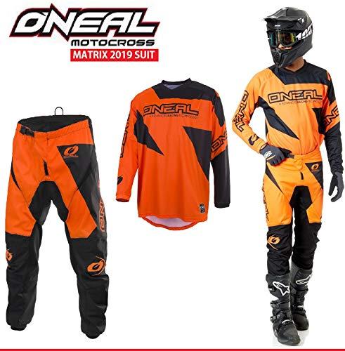 Motorradanzüge Oneal Matrix 2-teiler Motorradkombi, Motocross-Rennkleidung Hose Jersey Anzug für Erwachsene MX Quad Sportkleidung, Rennanzug Motorradbekleidung (Orange,L/34)
