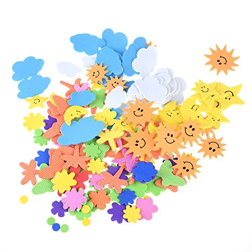 Bluecell The Blue Sky, The Sun, The Moon, The Flower, The Insect Shapes Self-Adhesive Foam Stickers for Craft Art Project