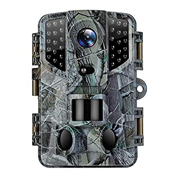 VanTop Ninja 1 Trail Camera 20MP 1080P Hunting Game Cam with Night Vision Motion Activated Waterproof Scouting Camera with 3 Infrared Sensors 120° Detecting Range for Wildlife Monitoring -Green
