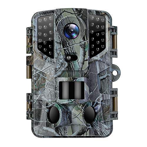 VanTop Ninja 1 Trail Camera 20MP 1080P Hunting Game Cam with Night Vision Motion Activated, Waterproof Scouting Camera with 3 Infrared Sensors, 120° Detecting Range for Wildlife Monitoring -Green