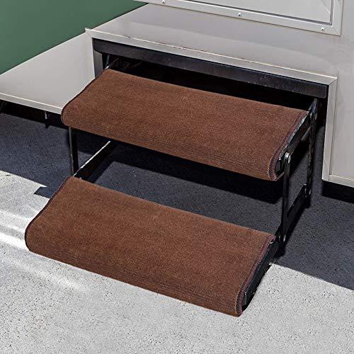 Aucuda RV Step Covers Wrap Around Camper RV Step Rug Step Carpet, Set of 2, Brown, 23 Inch Width