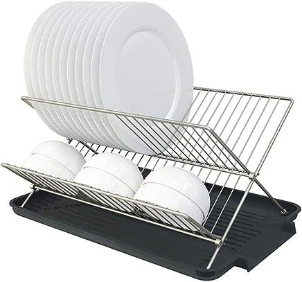 Accesorios de Cocina LIN HE SHOP Escurridor de Platos Rack de Secado Arte de Hierro con Bandeja de Goteo y Porta Utensilios Portavasos para Cocina
