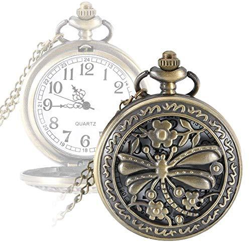 Reloj de Bolsillo para Enfermera Reloj de libélula Hueco Reloj de Bolsillo de Cuarzo Aleación Collar Retro Colgante Regalo Cadena Reloj, Relojes de Mujer
