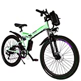 Yiilove Electric Bicycle 26'' Electric Mountain Bike for Adult with 36V Lithium-Ion Battery Ebike 250W Powerful Motor 21 Speed (White)