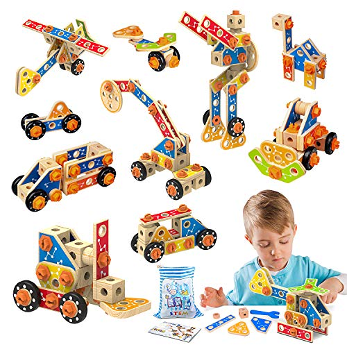 LUKAT Wooden Building Toys, Construction Toys Set 72 PCS STEM learning Building Blocks Kit Fun Engineering Educational Toy for Kids Age 3 4 5 6 7 8 Year Old Gift for Boys & Girls