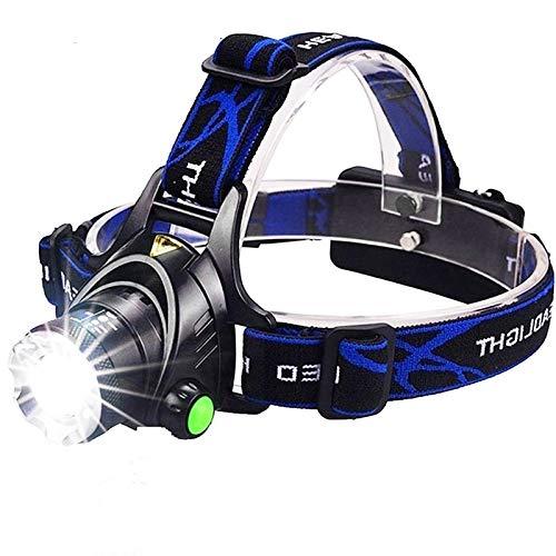 Linterna frontal de 6000 lúmenes LED L2/T6 con zoom, linterna para cabeza, linterna de cabeza por batería 18650 para pesca, caza, L2-8000 lúmenes