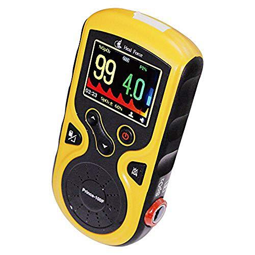 Heal Force Prince 100F Hand-Pulsoximeter mit Echtzeitmessung, externer Fingerkugel, Review-Funktionen und erweiterter Datenspeicherung, gelb