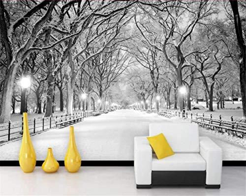 MAZF Wallpaper Modern Black and White Woods Road Snow Scene Tv Living Room Sofa Background Wall 3D Wallpaper Tapeta