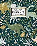 2021-2022 Weekly Planner: Cool Dinosaur Two Year Calendar, Agenda, Diary | Jungle Floral 24 Month Organizer with Vision Boards, Notes, To Do Lists, Holidays