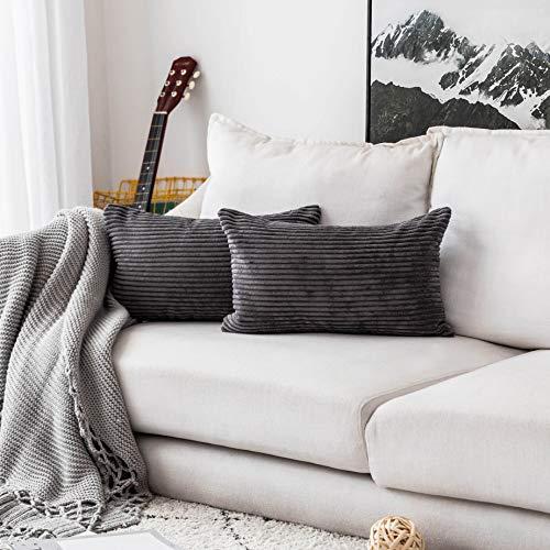 Home Brilliant Decorative Plush Striped Velvet Corduroy Oblong Pillowcases Accent Cushion Covers, 12 x 20 inches (30x50 cm), Set of 2, Dark Grey
