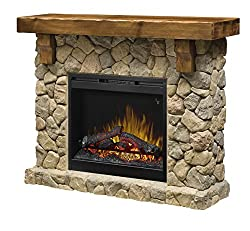 Dimplex Fieldstone Freestanding Electric Fireplace with Pine and Stone-Look Mantel