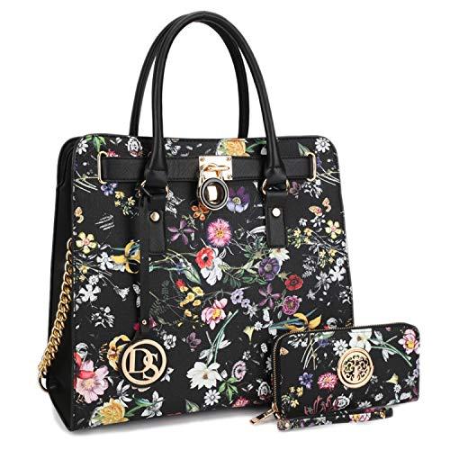 DASEIN Fashion Top Belted Tote Satchel Designer Padlock Handbag Shoulder Bag for Women (2553W-black floral)