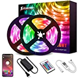 32.8FT LED Strip Light,SOLMORE Bluetooth RGB LED Strips Music Sync Color Changing LED Light Strips 24-Key Remote DIY RGB LED Strips App Controlled Rope Lights for Bedroom Ceiling Hallowen Decoration