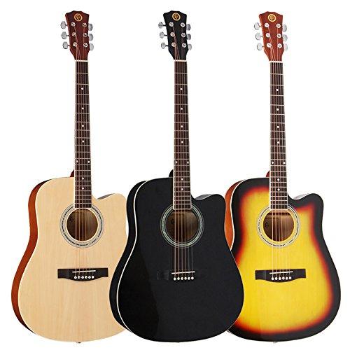 HUANH 41 pulgadas de madera, acústica, folk, guitarra clásica, tamaño completo, 21 trastes, tilo, con funda HUANH