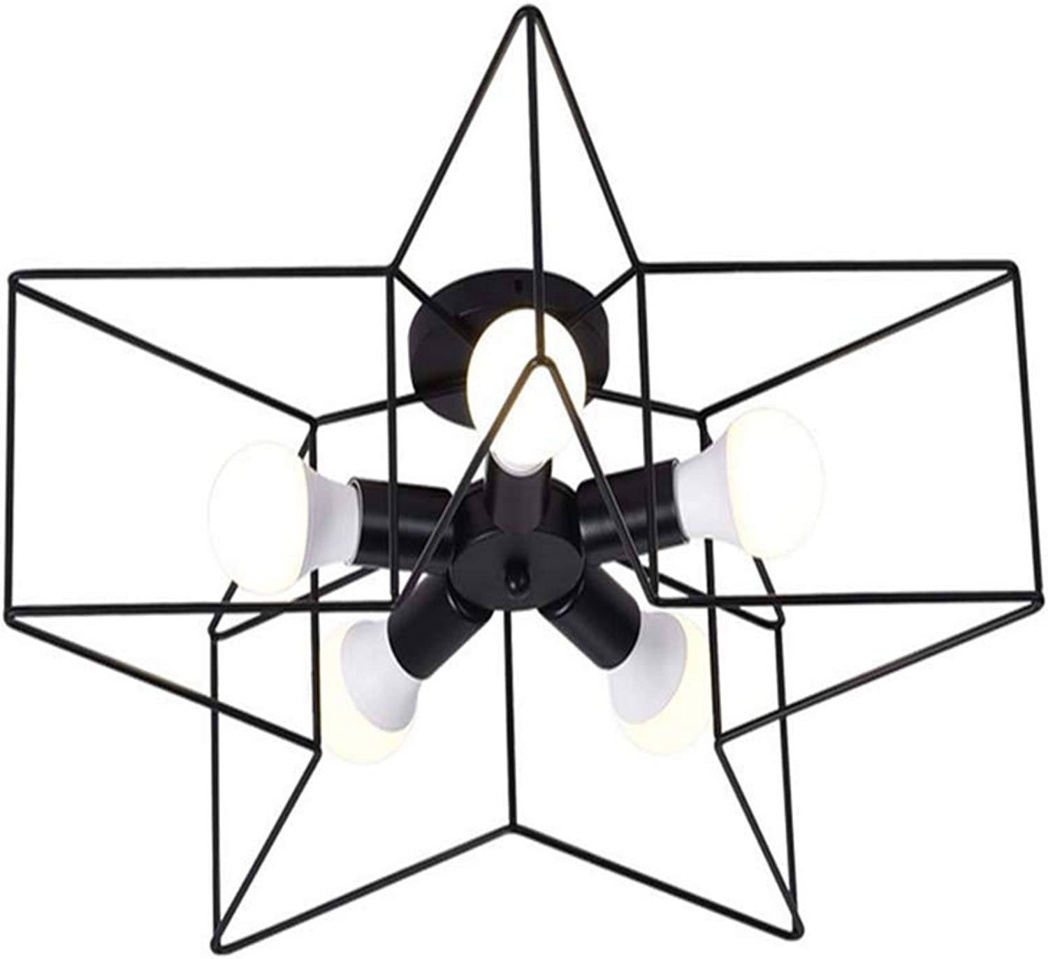Lichtpentagram Ceiling Lamp Simple Design Iron Art Geometric Ceiling Light,schwarz,5Heads