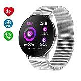 Smartwatch para Hombres Mujeres Niños,Reloj Inteligente Bluetooth IP68 Impermeable,Pulsómetro,Rechazo de Llamada,SMS,Recordatorio de Llamada Fitness Tracker Smart Watch para Android y iOS (Plata)