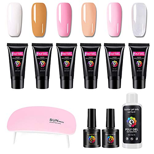 Shellac Set, gel nägel starter set UV/LED Lampe 6 Farben 30ml Nagellack Polygel mit Top & Base Coat, Slip Solution und 100pcs Nail Tips Shape für Nail Design.