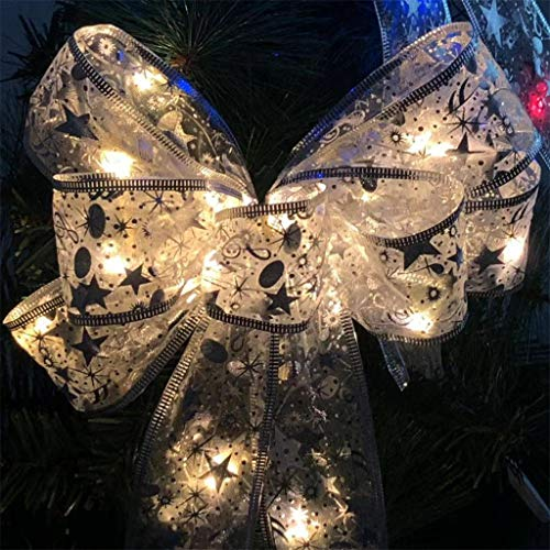 LED Christmas Tree Ornaments Ribbon Bows for Home Christmas Tree Wreaths Decor, Stickers Bar Ornament Yard Garden Porch Party Garland Snowflake Bell DIY Multicolor White
