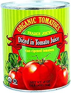 Trader Joe's Organic Tomatoes Diced In Tomato Juice 28 oz (Case of 2)