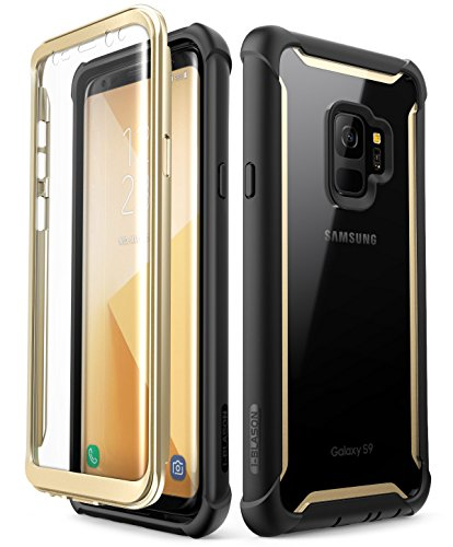 i-Blason Case for Galaxy S9 2018 Release, Ares Full-body Rugged Clear Bumper Case with Built-in Screen Protector (Black/Gold)