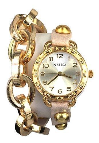 Ciudad Nafisa Esfera Redonda Mujeres Cadena de Metal/Cuero con Remaches Doble Correa de Cuero Wrap Reloj de Pulsera na-0026 (Reloj)