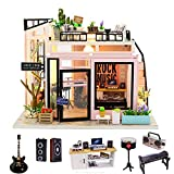 SPILAY DIY Miniature Dollhouse Kit with Wooden Furniture,DIY Dollhouse Kit with Dust Proof and Music Movement,1:24 Scale Creative Room for Romantic Valentine's Gift(Time Studio)