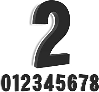 Homlux 5 Inch Upscale LED Modern House Number, Stainless Steel with Black Coating and Backlit House Number, Easy to Instal...