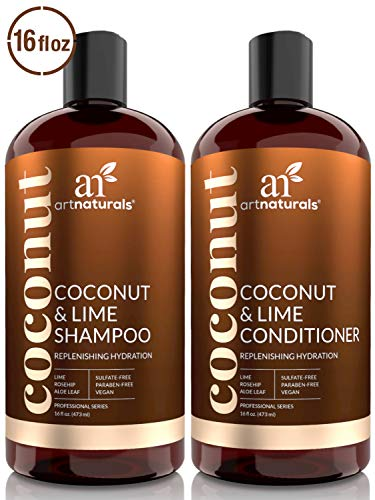 ArtNaturals Coconut-Lime Shampoo and Conditioner Set – (2 x 16 Fl Oz / 473ml) - Professional Deep Hydrating Moisturizing For Curly Fine Oily Dry Damaged and Color Treated Hair – Natural, Sulfate Free