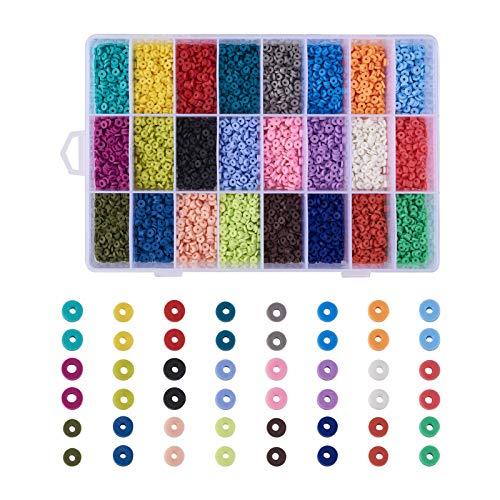 PandaHall, 7200 cuentas redondas y planas de arcilla polimérica de 4 mm, en forma de disco, cuentas Heishi, cuentas espaciadoras de 24 colores hechas a mano para collares, pulseras