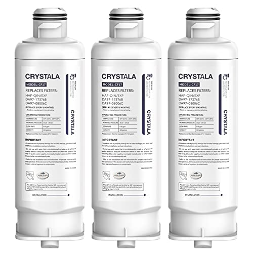 Price comparison product image Crystala Filters Replacement for DA97-17376B Water Filter,  NSF 42 Compatible with Samsung HAF-QIN,  HAF-QIN / EXP,  DA97-08006C,  RF23M8070SG,  RF23M8070SR,  RF23M8090SG