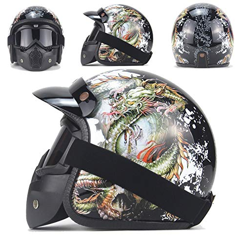 Braveking Casco Moto Cascos Abiertos Hombres Y Mujeres Casco Jet 3/4 con Gafas De Protección Solar Material ABS Casco Retro Harley Scooter Electric Car Casco De Seguridad,Matte black1,S
