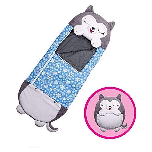 beautgreen Kinder-Spielkissen und Schlafsack, 2-in-1 Cartoon-Tier-Nickerchen, lustiger Schlafsack, Überraschung, blauer Husky (3–6 Jahre)