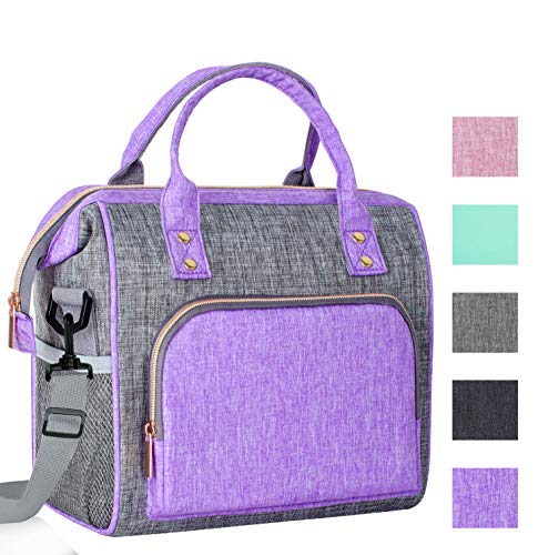 IDEATECH Lunch Bags for Women Instant Lunch Bag for men Large Tote Bag Leakproof Cooler Lunch Bags for Work Kids Lunch BagsThermal Snaks Organizer for Women and Men Office School Picnic Purple