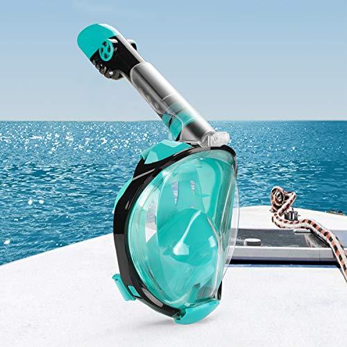 Hengda Schnorchelmaske Tauchmaske Vollmaske Vollgesichtsmaske Faltbare, mit Kamerahaltung und 180° Sichtfeld, Anti-Fog Anti-Leck, für Erwachsene und Kinder