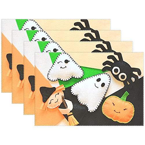 Eliuji Placemats voor Halloween met schattige heks pompoenen, ghots en spider, hittebestendig, wasbaar polyester