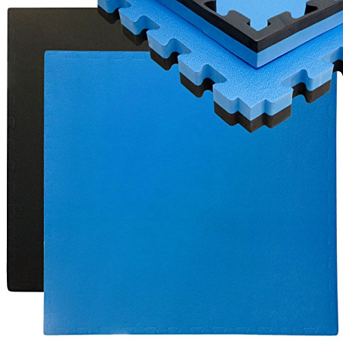 EYEPOWER 40mm Dicke Bodenschutz-Matte 90x90cm Trainingsmatte Puzzlematte erweiterbare Fitnessmatte mit Rand Schwarz Blau