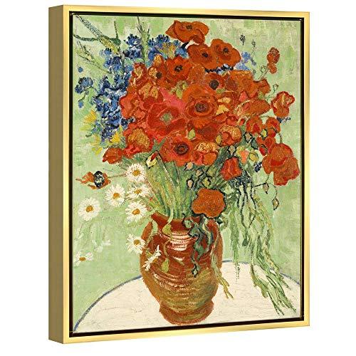 Wieco Art Framed Art Giclée Stampe su Tela di Papaveri Rossi e Margherite, Stampa Artistica da Parete di Van Gogh, Riproduzione Astratta per Decorazione da Parete, Cornice Dorata, VAN-0025-3040GF