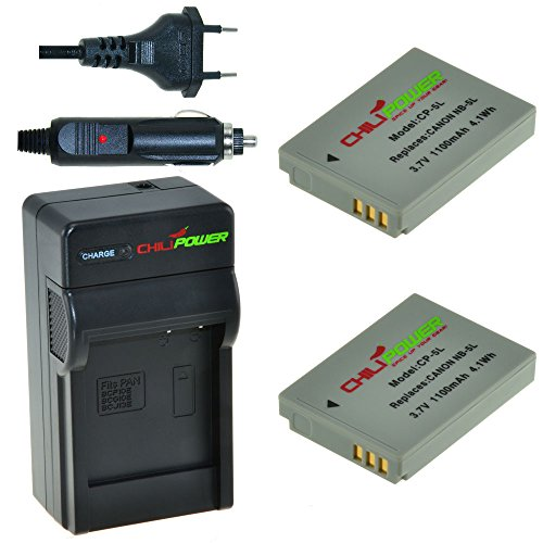 ChiliPower Canon NB-5L Kit: 2x Batteria (1100mAh) + Caricabatteria per Canon Powershot S100, S110, SD700 IS, SD790 IS, SD800 IS, SD850 IS, SD870 IS, SD880 IS, SD890 IS, SD900 IS, SD950 IS, SD970 IS, SD990 IS, SX200 IS, SX210 IS, SX220 IS, SX230 HS