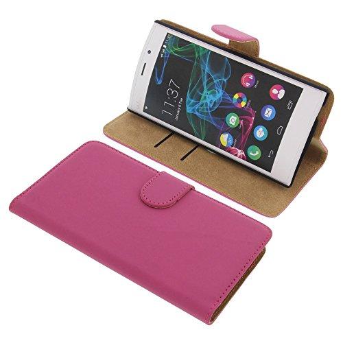 foto-kontor Tasche für Wiko Ridge Fab 4G Book Style pink Kreditkarte Schutz Hülle Buch