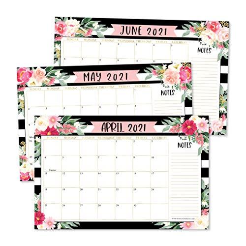 Black Floral 2021-2022 Desk Calendar Large Monthly Wall Planner 18 Month Academic Desktop Calendar or Fridge Planning Blotter Pad Striped Notes Section for Teacher Family or Business Office 11x17