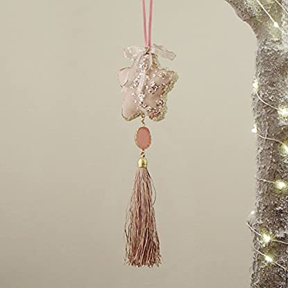 Foto di Decoro Shabby Chic Albero di Natale Colore Rosa Cipria Stella Blanc Mariclo