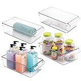 mDesign Juego de 4 cajas de almacenaje para nevera o congelador – Cajones de plástico con asas – Refinado organizador de cocina para guardar botellas, latas, aperitivos, etc. – transparente