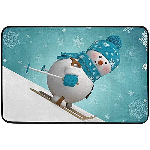 Ogden Moll Teppiche Teppich Weihnachten Schöne Schneemann Schneeflocke Cartoon Muster Moderne Weiche Teppich Für Wohnzimmer, Schlafzimmer, Eingang, Dekorativ, Flur,60x91 cm(36x24 Zoll)