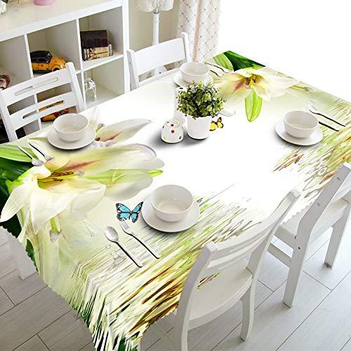 XXDD Mantel Rectangular Impermeable 3D Exquisito Lila Lila púrpura Flores para decoración de Mesa de Cocina Mantel A8 150x210cm