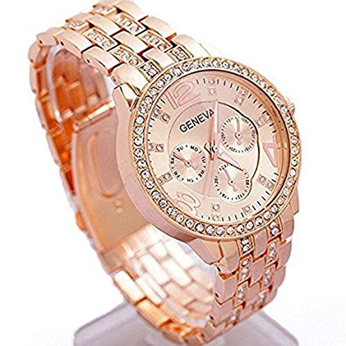 Happy Hours – Classic Rose Gold Big Dial Alloy Crystal Rhinestone Quartz Leisure Wrist Watch