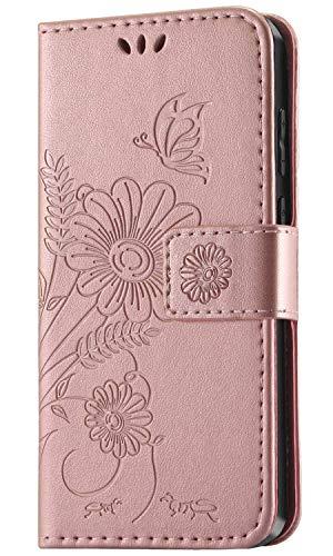 kazineer Hülle für Xiaomi Redmi Note 7, Leder Tasche Handyhülle für Xiaomi Redmi Note 7/Note 7 Pro Schutzhülle Brieftasche Etui Hülle (Pink-Gold)