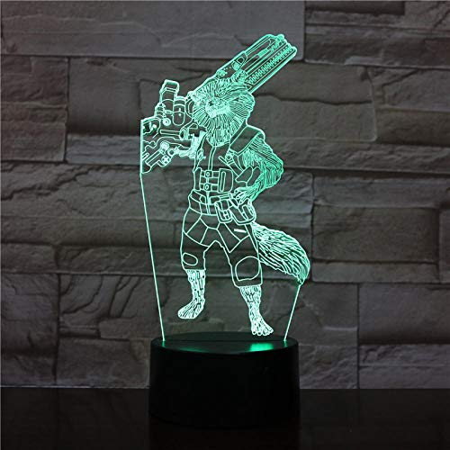 Carga USB/7 Colores Touch Lámpara De Mesa,3D Luz De Noche Mood,LED Ilusión Óptica Lámpara, Decoración Del Dormitorio Para Niños,Cumpleaños/Vacaciones/Navidad/Halloween/Partido Regalos Creativos.